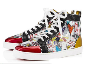 Season Red Bottom Sneakers Homme Chaussures Luxe Imprimé Silver Pik Pik No Limit RARE clous et strass graffiti