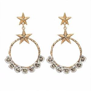 Personnalité rétro boucles d'oreilles de la mode pentagonale grande géométrique décoratif rose motif argent plaqué or boucles d'oreilles femmes bijoux cadeau