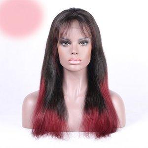 100 % 처리되지 않은 저렴한 레미 버진 인간의 머리 burg ombre 색상 화려한 긴 변태 스트레이트 전체 레이스 가발 여성용
