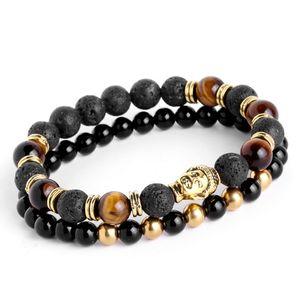 2 pçs / set Mens Pulseiras Lava buddha pulseira Para Os Homens de Pedra Natural Beads Pulseira Presente Religião Yoga pulseras pulseira masculina