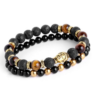 2pcs / set Mens Bracelets 용암 부처님 팔찌 남성용 천연석 비즈 팔찌 선물 종교 요가 pulseras pulseira masculina