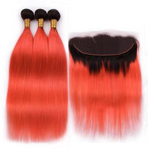 Straight # 1B / Orange Ombre Brazilian Virgin Hair Bundle Deals with Frontal Ombre Orange 13x4 Cierre frontal de encaje completo con tejido