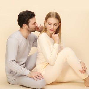 Inverno Mulheres underwear térmico conforto algodão longo johns mulheres homens set sexy slim equipado Veludo Cashmere Suit casal terno