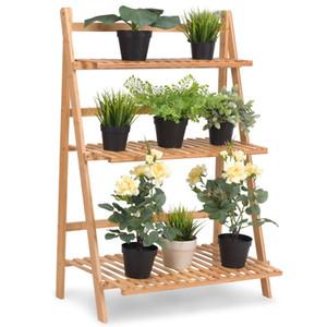 Multifunktions-3-Ebenen-Klappständer Bambus-Blumentopf-Ausstellungsregal-Bücherregal