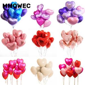 MMQWEC18inch100pcs Baby Shower партии Любовь Фольгированные шары Сердце Гелий Воздушный Шар Свадебные шары День Рождения Украшение Воздушный Шар
