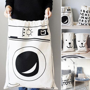 INS Large Baby Toys Storage Bags Canvas Bear Batman Laundry Hanging Drawstring Bag Household Pouch Bag Home Storage Organization c563