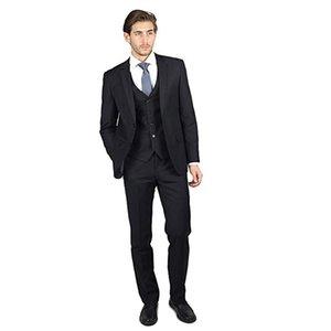 2019 hommes Costumes de mariage noir cranté Costumes Lapel robe de soirée bal Epoux Custom Made Slim Fit 3piece meilleur homme Blazer Casual Man smoking