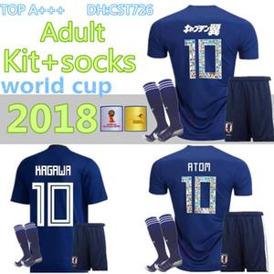 uomo kit + calze 2018 World Cup Japan home blu Maglia calcio OKAZAKI KAGAWA HASEBE NAGATOMO maglie 2018 2019 giappone Maglia calcio
