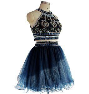 Navy Короткие платья выпускного вечера Две пьесы Пром платья из бисера Выпускной Платья сшитое Homecoming платья DH726