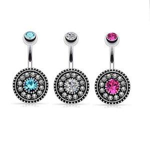 Нержавеющая сталь Кольцо для завивки живота CZ Diamond Bell Button Кольца пуполя Простой дизайн Rhinestone Body Piercing Fashion Jewelry