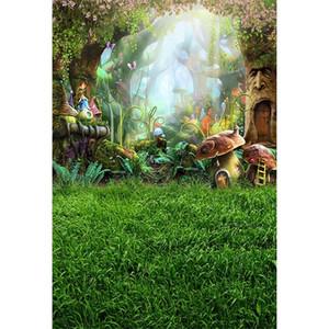Fairy Tale Wonderland Sfondo foresta incantata Funghi vecchi alberi Farfalle Princess Baby Girl Birthday Party Photo Booth Sfondo