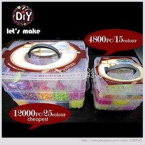 Facciamo le fasce del loom dei nastri di gomma del telaio per 3 strati Big Box Set braccialetti di fascino DIY 12500 pezzi / 4800 pc Braccialetti più caldi