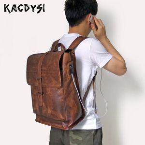 100% Echtes Leder Vintage Männer Handgemachte Gemüse Gegerbtem Leder Mann Reisetasche Casual Laptop Notebook Daypack