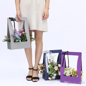 Cesto di fiori di carta da imballaggio pieghevole regalo tenuto in mano Cesto di fiori portatile di stoccaggio disegno ispessimento per appendere nuovo arrivo 3zg ZZ