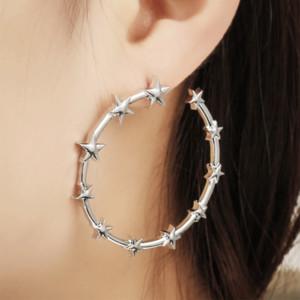 Star Hoop Earring Romantic Geometry Hanging Simple Pentagram Pendientes Brincos Femme Jewelry Big Hoop Earring