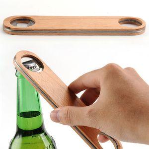 Apribottiglie Utensili da cucina Manico in legno in acciaio inox Apribottiglie Birra Bar Utensili Soda Beer Bottle Opener Accessori per la casa WX9-1063