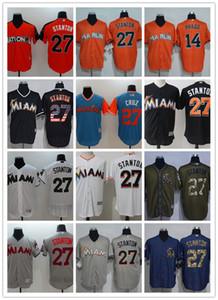 Großhandel Männer Frauen Jugend Miami Marlins Gewohnheit Jersey # 14 Martin Prado 27 Giancarlo Stanton Haus Orange Weiß Grau-Baseball-Shirts