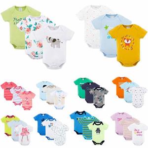 12 grupos Ins Baby kids summer girl boy 100% algodón mameluco O-cuello dot stripped animals Imprimir mameluco de manga corta niños ropa elegante