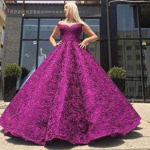 Dubai Profundo Fuchsia Fuchsia Vestido Glamorous Lace Ball Vestido Desligado Ombro Vestidos de Noite Feito Personalizado Costume Bodice Quinceanera Vestidos