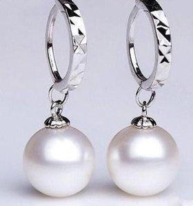 Bellissimo paio di orecchini in argento 925 con perle naturali del Mare del Sud di 8-9 mm in argento 925