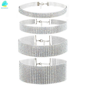 BONISKISS  Big Wide Bling Crystal Women's Chocker Necklace Set Of 4 Size