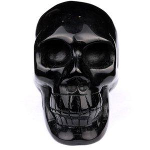 Doğal Kazınmış Takla Siyah Obsidyen Kafa Taş Kafatası Ev Dekorasyon için, festival Hediye, Kristal Reiki Şifa El Sanatları