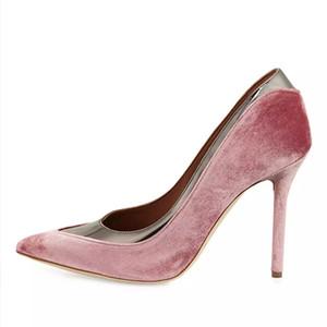 Zapatos de vestir de tacón alto de terciopelo de primavera Mujeres Bombas Resbalón en punta estrecha Tacones finos Mujeres Bombas de patchwork Zapatos de boda
