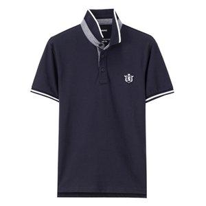 Männer Polo Shirt mit kurzen Ärmeln Rippkragen Polo Shirts Rundhals Lion Stickerei 3d elastische Marke Kleidung Designer Polo