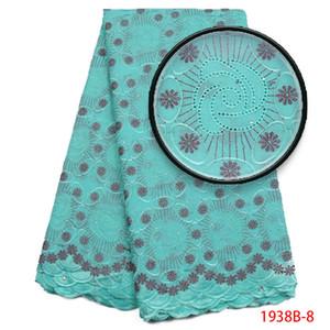 African Lace Fabric Schweizer Voilespitze-Qualitäts-Nigerian Blue Color Cotton Lace Fabric mit gestickten Blumen AMY1938B-2