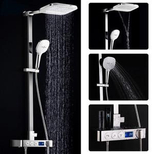 Display Digital Conjunto de Chuveiro Inteligente Torneira De Latão Termostática Chuva de Parede Inteligente Cachoeira Torneiras Do Chuveiro de Temperatura