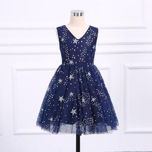 2018 Nueva Moda Princesa Falda Vestidos de las muchachas de las flores Niños Ropa formal Disposición de hadas Elegancia sin mangas