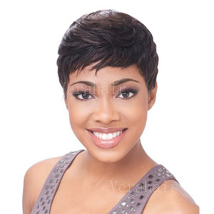 Virgem Cabelo brasileiro Pixie corte curto Humanos Melhores Perucas Hiar para perucas Negras Glueless completa Lace Wig Virgin cabelo brasileiro