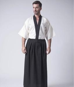 Classic Japanese Samurai Clothing Men's Warrior Kimono With Obi Traditional Satin Yukata Convention Costume One Size