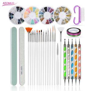 Ставить точки Pen набор Nail Brush расставить картины рисования Nail Art Brush гель польский Стразы инструменты Гель Картина Pen