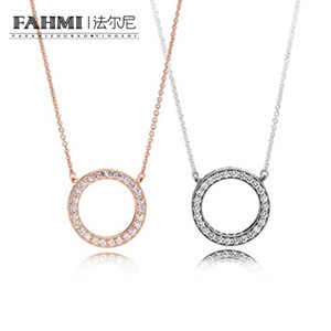 FAHMI 2017 New High Quality Real 925 Sterling silver pendant Rose Gold Color Brand Crystal Necklace Fashion jewelry for Women