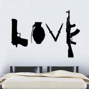 Stickers muraux Grand Stickers muraux pour Salon Chambre Home Décor Plan mur sticke Wallpaper Decal Art Amour Armes mots