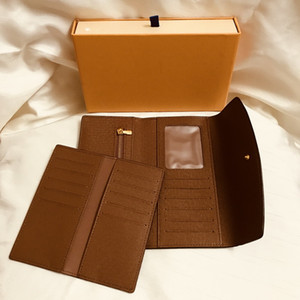 Portafoglio da donna Portafoglio lungo portafogli per carta di credito Portafoglio da donna con foto Portafoglio in pelle marrone a quadretti bianchi e grigi