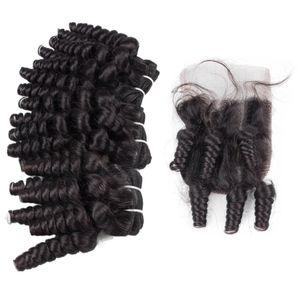 Tantchen Funmi Curly Menschenhaar-Webart-3pcs mit Spitze Closure 4x4 Malaysian Tantchen Funmi Haar Romantik Curls mit freiem Teil Closure Pieces