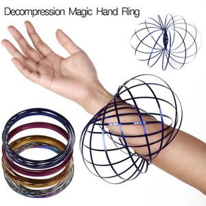 9 cores Fluxos 3D Kinetic Sensory Interativo Legal Brinquedos Para Crianças Adultos Engraçado anel mágico de Aço Inoxidável Brinquedo GGA81 50 PCS