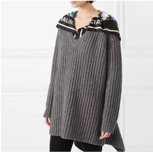 1117 2019 Spring Women's Sweater Black Red Lapel Neck Long Sleeve Regular Fashion Prom Sweaters Pullover TB