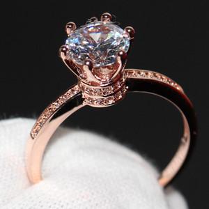 Crown Ehering Ring für Frauen Luxus Schmuck 925 Sterling Silber Rose Gold gefüllt Runde Cut White Topas weibliche Verlobungsring Geschenk
