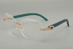 2019 nuova fascia alta moda occhiali cornice intagliata 8300817 serie di diamanti blu / colore / intagliati a mano vetri di legno cornici, 58-18-135mm