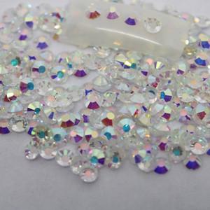 Çıplak Kristal AB Rhinestones Geri Düz Yuvarlak Nail Art Süslemeleri Ve Taşlar Olmayan Düzeltme Rhinestones Kristaller için DIY Cam