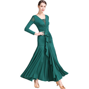 Fashion lady ballroom dance costume sexy senior spandex ballroom dance dress for women competition dresses
