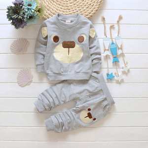 Toddler Baby Boys Clothes Spring Autumn Bear Leisure Long Sleeved T-shirts + Pants Baby Girl Clothes Kids Bebes Suits