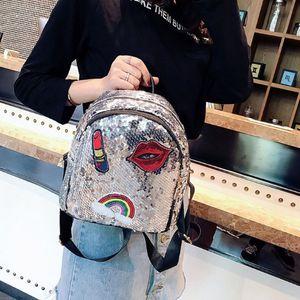 Women Fashion Sequins Backpack Beautiful Lipstick Lips Pattern Cosmetic Bag Multi-Functional Travel Shopping Handbag Luxury Girl Backpack