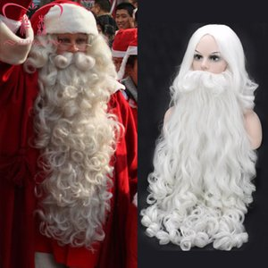 Parrucca cosplay di Natale Barba Babbo Natale Capelli ricci lunghi sintetici bianchi per adulti