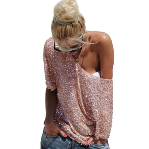 Fashion Women Sexy Loose Off Shoulder Sequin Glitter Blouses Summer Casual Shirts Vintage Streetwear Party Tops