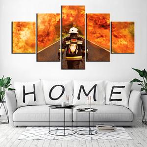 Холст Wall Art Pictures 5 Шт. Пожарный Пожарный Живопись Печатных Пожарная Спасательная Битва Стоит Победа Плакат Home Decor Frame