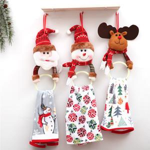 Toalha de decoração de natal anel de suspensão santa alces boneco de neve pvc anel rodada toalete circular anel de toalha de natal para casa decoração da árvore